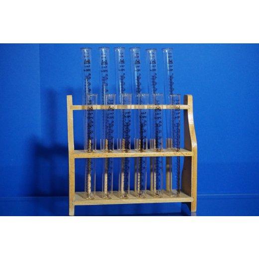 12x Reagenzgläser, mit Graduierung 25 mL, Rack , Laborglas Set, Konvolut, Labor
