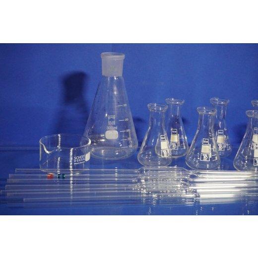 Labor Set, Labor Konvolut, Mörser, Pipetten, Becherglas, Kristallisationsschale