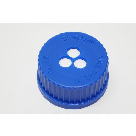 Belüftungsschraubkappen DURAN® mit ePTFE-Membran GL 45 blau Schraubverschluss