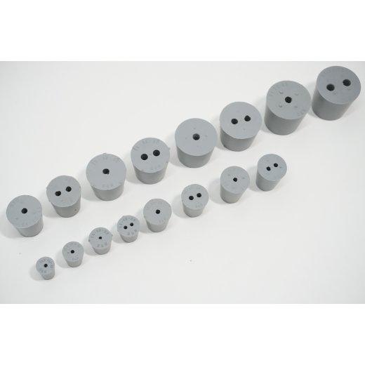 Gummistopfen Laborstopfen  mit 3,4,5,6,7mm Loch konisch Stopfen grau Kautschuk nach DIN 12871