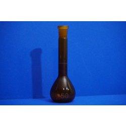 1 x Messkolben, Hirschmann 50 mL, Duranglas, Volumetric flask, Labor, Braunglas