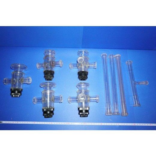 Labor glaswaren, Kolben, Flaschen, Laborglas, Synthese, zubehör, Konvolut, Set