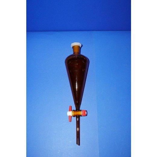 Scheidetrichter, 250mL, Braunglas, NS19, separatory funnel, Laborglas
