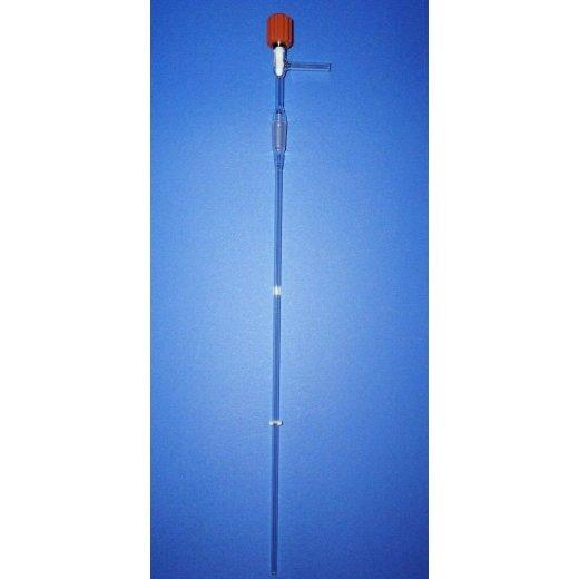 Dosiertrichter, Laborglas, Gasdosierung, Labor, mit Teflonnadelventil, NS14